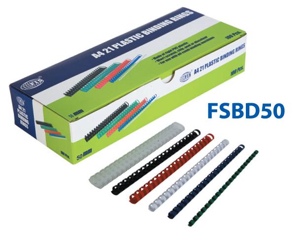 FIS Binding Ring Plastic Black 50mm 410 sheets (Pkt/50pc)
