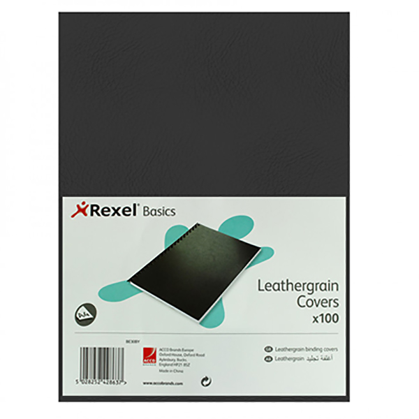 Rexel Basic Leather Grain Cover A4 (pkt/100pc)